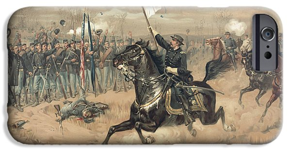 Yankees iPhone Cases - The Battle of Cedar Creek Virginia iPhone Case by Thure de Thulstrup