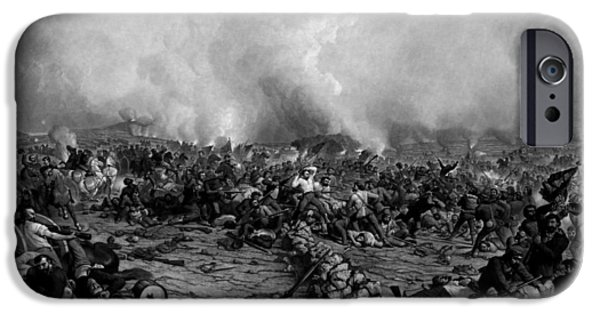 War Drawings iPhone Cases - The Battle of Gettysburg iPhone Case by War Is Hell Store