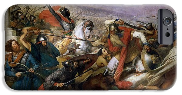 Religious iPhone Cases - The Battle of Poitiers iPhone Case by Charles Auguste Steuben