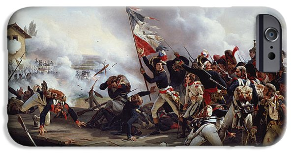 Austrian iPhone Cases - The Battle of Pont dArcole iPhone Case by Emile Jean Horace Vernet