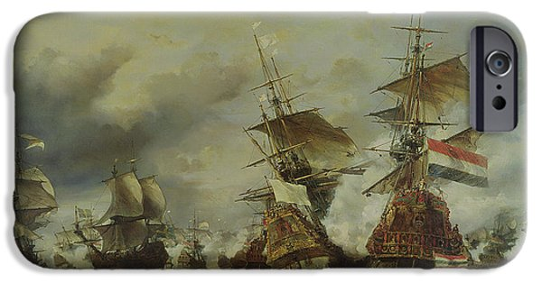 Holland Paintings iPhone Cases - The Battle of Texel iPhone Case by Louis Eugene Gabriel Isabey