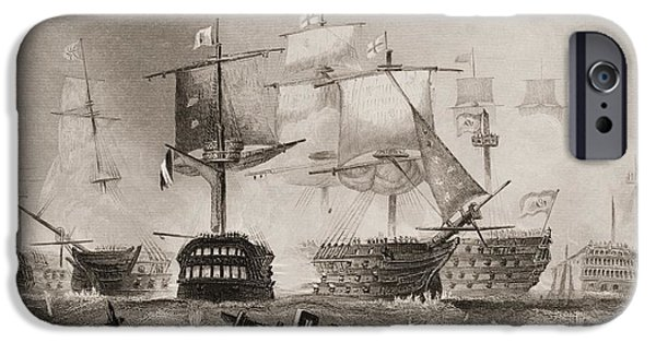 War iPhone Cases - The Battle Of Trafalgar. Engraved By iPhone Case by Ken Welsh