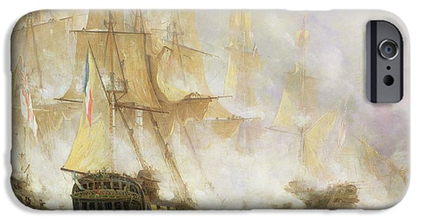 Sink iPhone Cases - The Battle of Trafalgar iPhone Case by John Christian Schetky