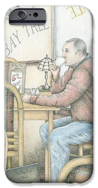 Chair Drawings iPhone Cases - The Bay Tree Cafe Clock iPhone Case by Sandra Moore