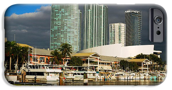 Pleasure iPhone Cases - The Bayside Marina in Miami iPhone Case by James Kirkikis