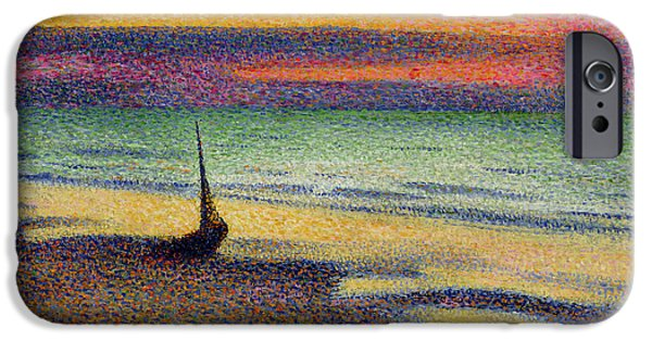 Impressionist iPhone Cases - The Beach at Heist iPhone Case by Georges Lemmen
