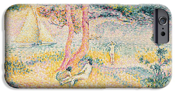 Figures iPhone Cases - The Beach at St Clair iPhone Case by Henri-Edmond Cross