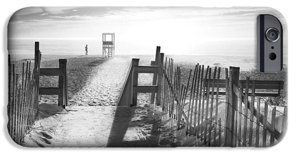 Beach Landscape Digital iPhone Cases - The Beach in Black and White iPhone Case by Dapixara Art