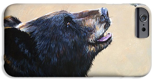Nature iPhone Cases - The Bear and the Hummingbird iPhone Case by J W Baker