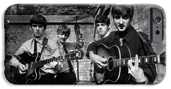 Gray Hair Paintings iPhone Cases - The Beatles In London 1963 Black And White Painting iPhone Case by Tony Rubino