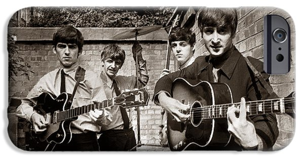 Gray Hair Paintings iPhone Cases - The Beatles In London 1963 Sepia Painting iPhone Case by Tony Rubino