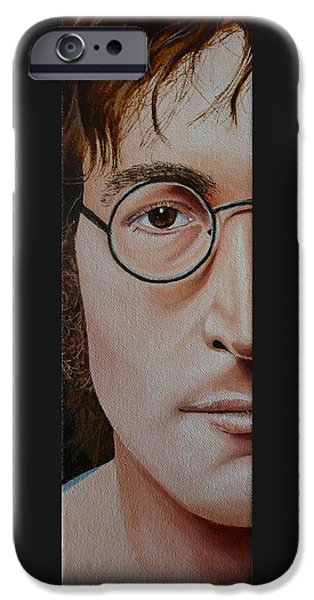 Beatles iPhone Cases - The Beatles John Lennon iPhone Case by Vic Ritchey