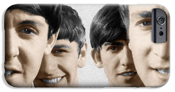 Fab Four iPhone Cases - The Beatles Painting 1963 Color iPhone Case by Tony Rubino