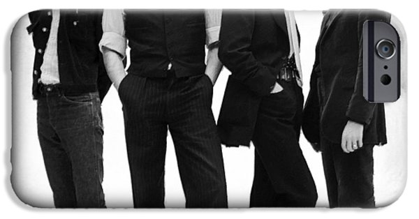 Gray Hair Paintings iPhone Cases - The Beatles Painting Late 1960s Early 1970s Black And White iPhone Case by Tony Rubino