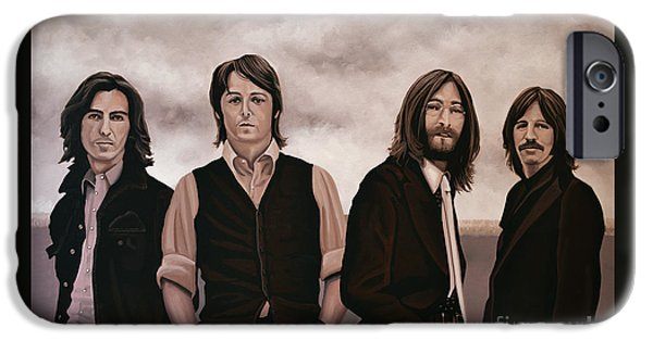 John Lennon Paintings iPhone Cases - The Beatles iPhone Case by Paul Meijering