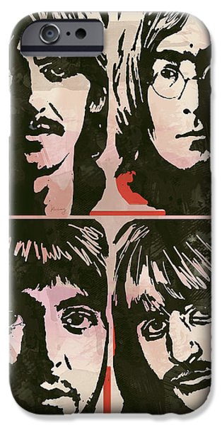 Innovative iPhone Cases - The Beatles Pop Stylised Art Sketch Poster iPhone Case by Kim Wang
