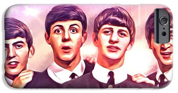 Digital Designs iPhone Cases - The Beatles Portrait iPhone Case by Scott wallace