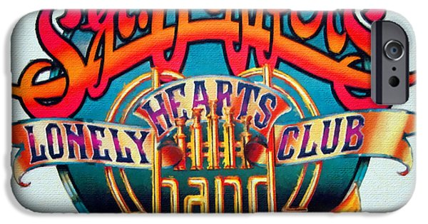 Fab Four iPhone Cases - The Beatles Sgt. Peppers Lonely Hearts Club Band Logo Painting 1967 Color iPhone Case by Tony Rubino