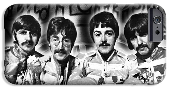 Gray Hair Paintings iPhone Cases - The Beatles Sgt. Peppers Lonely Hearts Club Band Painting And Logo 1967 Black And White iPhone Case by Tony Rubino