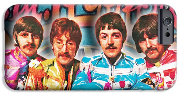 Fab Four iPhone Cases - The Beatles Sgt. Peppers Lonely Hearts Club Band Painting And Logo 1967 Color iPhone Case by Tony Rubino