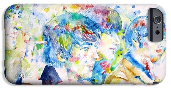 Fab Four iPhone Cases - THE BEATLES - watercolor portrait.4 iPhone Case by Fabrizio Cassetta