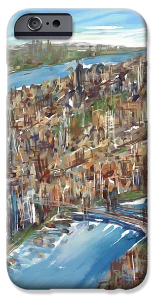 Brooklyn Bridge Mixed Media iPhone Cases - The Big Apple iPhone Case by Russell Pierce
