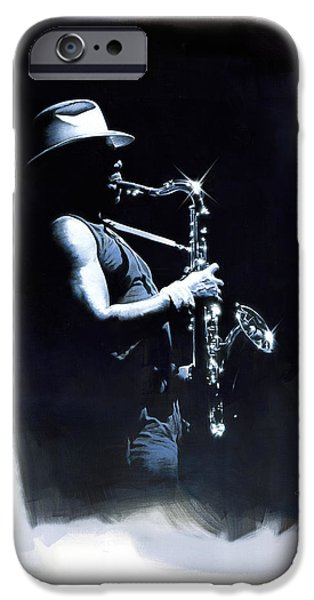 Clarence Clemons Paintings iPhone Cases - The Big Man iPhone Case by David Farren
