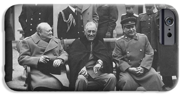 President Photographs iPhone Cases - The Big Three -- WW2 Leaders iPhone Case by War Is Hell Store