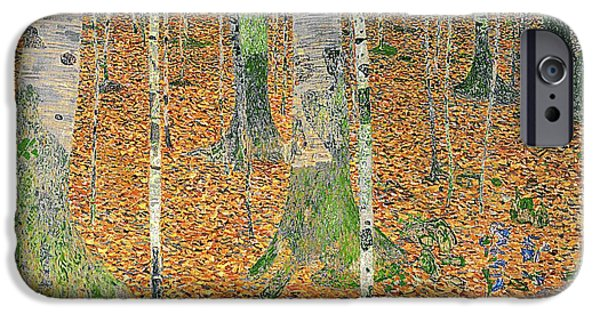 Austrian iPhone Cases - The Birch Wood iPhone Case by Gustav Klimt