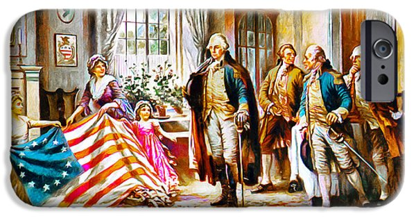Betsy Ross iPhone Cases - The Birth Of Old Glory Redux 20150710 iPhone Case by Wingsdomain Art and Photography