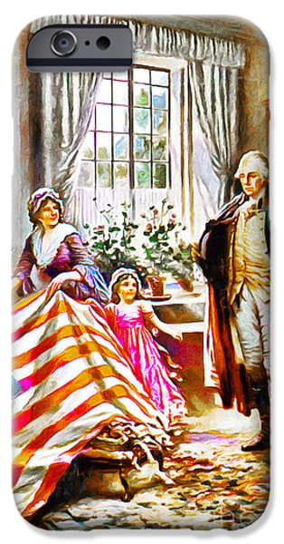 Betsy Ross iPhone Cases - The Birth Of Old Glory Redux 20150710v2 iPhone Case by Wingsdomain Art and Photography