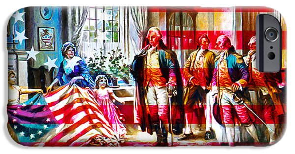 Betsy Ross iPhone Cases - The Birth Of Old Glory With Flag 20150710 iPhone Case by Wingsdomain Art and Photography