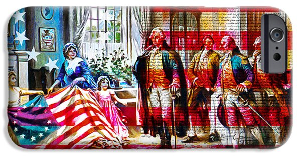 Betsy Ross iPhone Cases - The Birth Of Old Glory With Flag And The Declaration Of Independence 20150710 iPhone Case by Wingsdomain Art and Photography
