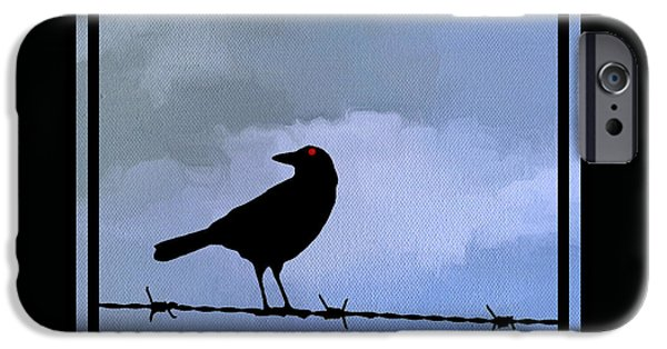 Barbed Wire Fences iPhone Cases - The Black Crow Knows Blue iPhone Case by Edward Fielding