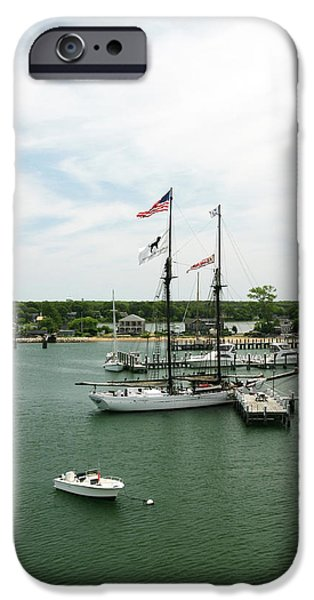 Black Dog iPhone Cases - The Black Dog Tall Ship Alabama Vineyard Haven Massachusetts iPhone Case by Michelle Wiarda