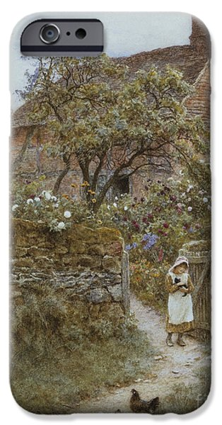 Country Lanes iPhone Cases - The Black Kitten iPhone Case by Helen Allingham