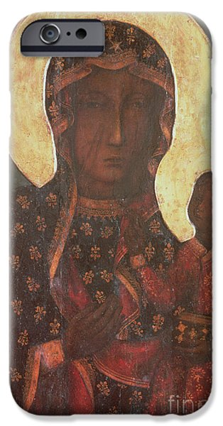 Baby Jesus iPhone Cases - The Black Madonna of Jasna Gora iPhone Case by Russian School