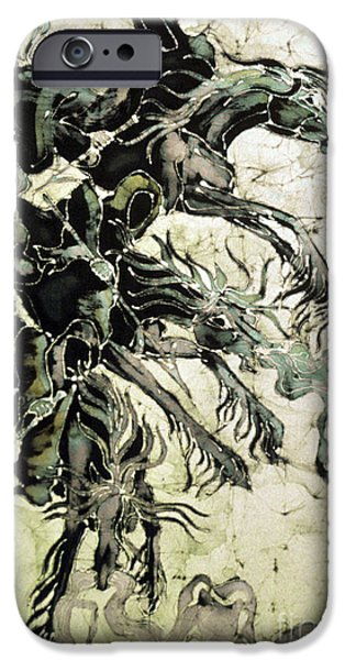 The Horse Tapestries - Textiles iPhone Cases - The Black Riders Descend iPhone Case by Carol  Law Conklin