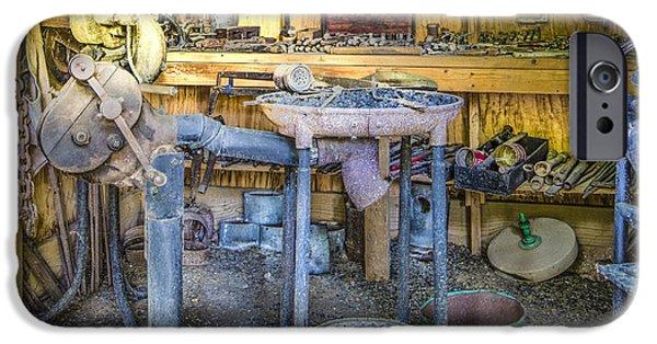 Antique Ironwork iPhone Cases - The Blacksmiths Shoppe iPhone Case by Debra and Dave Vanderlaan