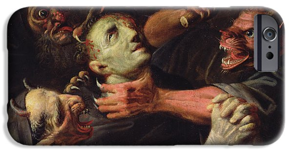 Ghoul iPhone Cases - The Blessed Guillaume de Toulouse Tormented by Demons iPhone Case by Ambroise Fredeau