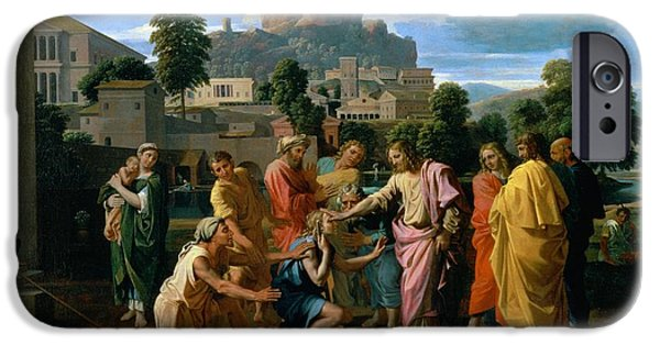 Miracle iPhone Cases - The Blind of Jericho iPhone Case by Nicolas Poussin