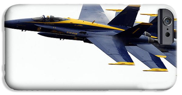 Angel Blues iPhone Cases - the Blue Angels leads the diamond in the Echelon iPhone Case by Celestial Images