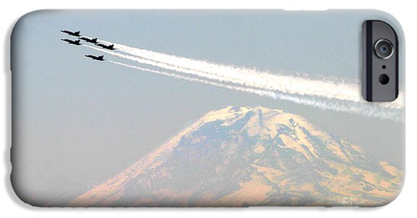 Angel Blues iPhone Cases - The Blue Angels over Mount Rainier Seattle iPhone Case by Celestial Images