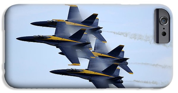 Angel Blues iPhone Cases - the Blue Angels perform a Diamond 360 iPhone Case by Celestial Images