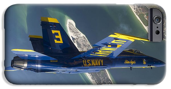F-18 iPhone Cases - The Blue Angels Perform A Looping iPhone Case by Stocktrek Images