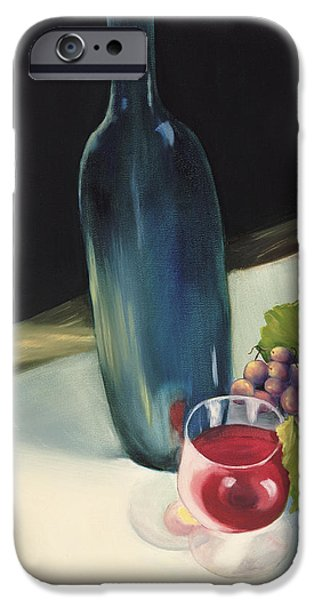 Table Wine iPhone Cases - The Blue Bottle iPhone Case by Carol Sweetwood
