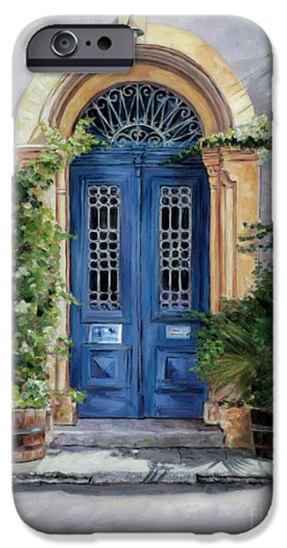 Larnaca iPhone Cases - The Blue Door iPhone Case by Theo Michael