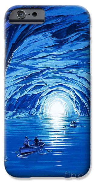 Boats In Water iPhone Cases - The Blue Grotto in Capri by McBride Angus  iPhone Case by Angus McBride