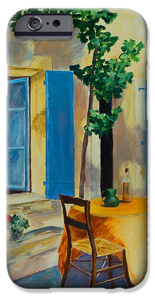 Village iPhone Cases - The Blue Shutters iPhone Case by Elise Palmigiani