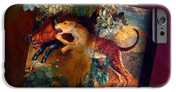 The Tiger iPhone Cases - The boar and the leopard iPhone Case by Marty Malliton